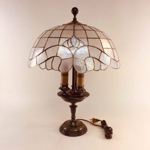 Three-light table lamp with capiz shade