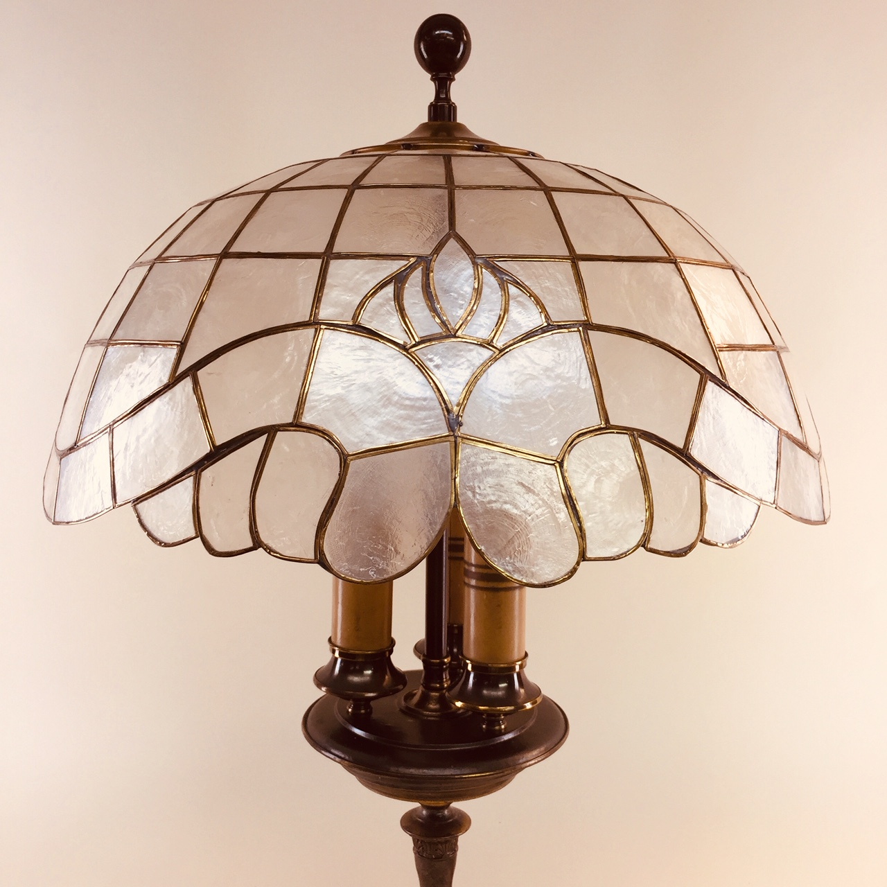 Three Light Table Lamp With Capiz Shade Old Lamps