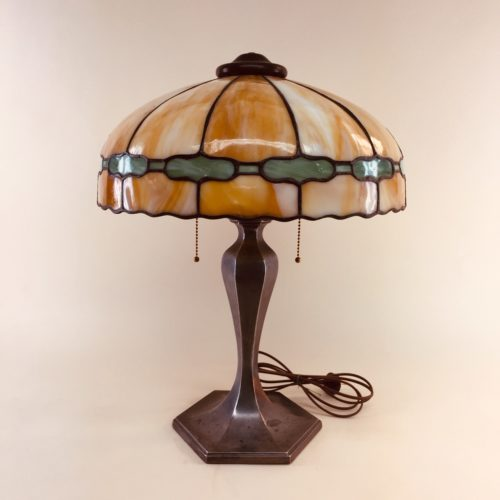 1905 slag glass table lamp