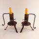 Pair of spiral courting candle holders signed Germany