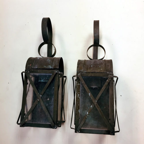 Pair of brass mission style outdoor sconces