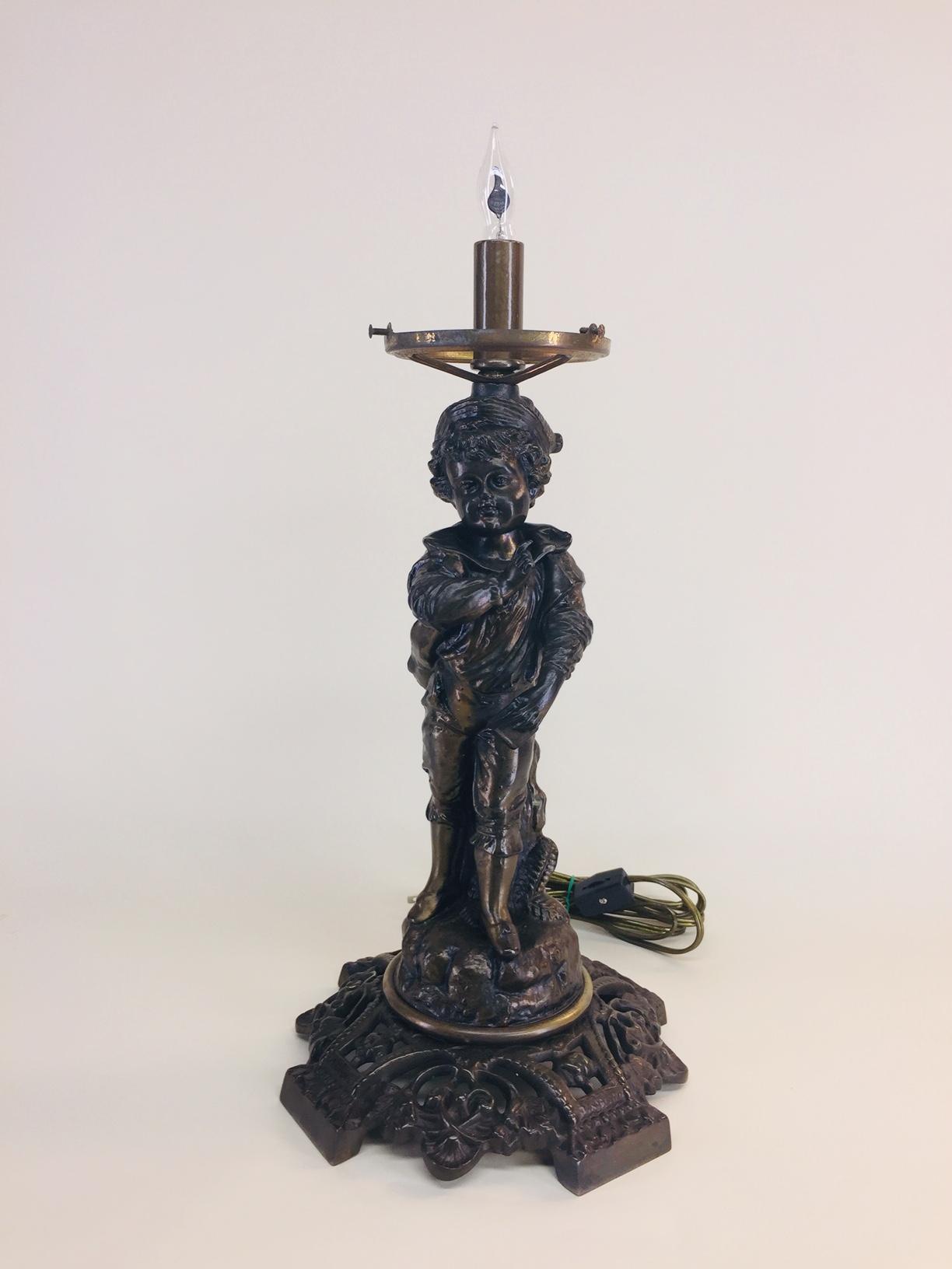 A RARE BRONZE FIGURAL LAMP , HAN DYNASTY (206 BC-AD 220