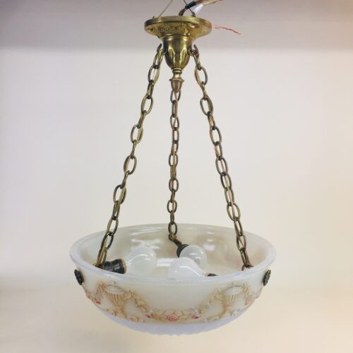 Thick glass bowl on brass fixture