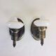 Pair of petite brass sconces with custard glass shades