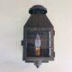 Rectangular brass lantern with glass panels