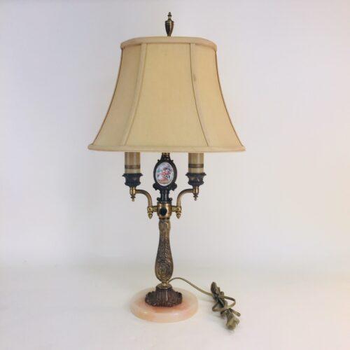 Custom-designed two-light table lamp