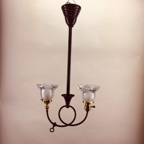 Two-armed gas/electric chandelier
