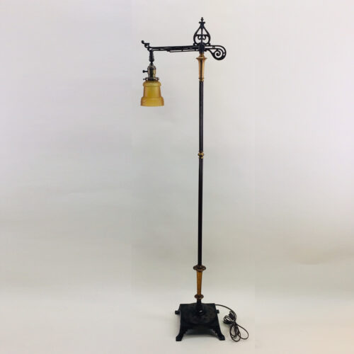 Signed Artistic Brass & Bronze Works, NYC Art Deco bridge arm floor lamp