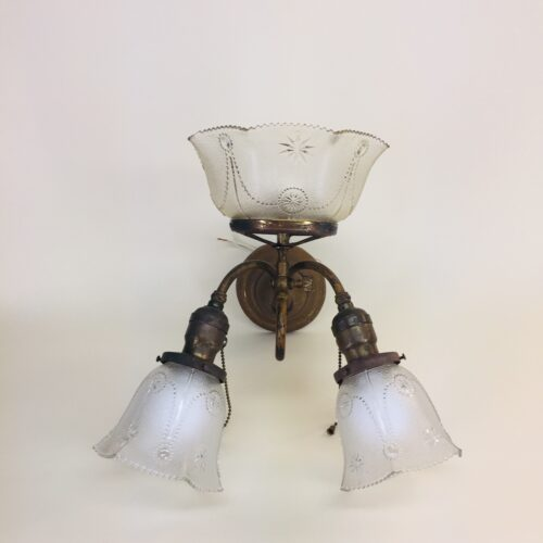 Brass gas/electric sconce